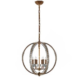 6 Light Pendant Light Fixture with Burnished Brass Finish