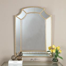 Antiqued Gold Leaf Francoli Arched Mirror Designed by Grace Feyock