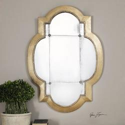 Antiqued Gold Leaf Andorra Specialty Mirror Designed by Grace Feyock