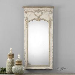 Antiqued White Carlazzo Rectangular Mirror Designed by Grace Feyock