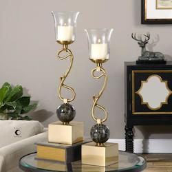 Brushed Coffee Bronze Attila Candle Holders Designed by Billy Moon