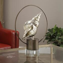 Antiqued Silver Champagne Sea Life Statue Designed By David Frisch