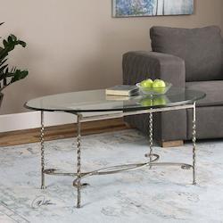 Antiqued Silver Leaf Nuncia Coffee Table Designed By Matthew Williams
