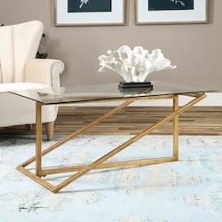 Antiqued Gold Leaf Zerrin Coffee Table Designed By Grace Feyock