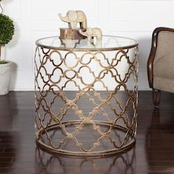 Antique Gold Quatrefoil End Table