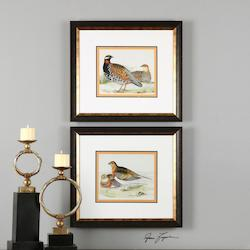 Golden Bronze Pair Of Quail Print Designed By Grace Feyock