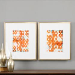 Gold Overlapping Teal And Orange Print Designed By Grace Feyock