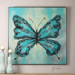 Multi-Colored Butterfly On Display Canvas Art Designed By Jim Parsons