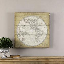 Multi-Colored French World Map Wood Art