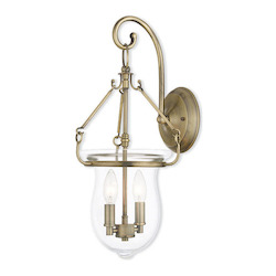 Antique Brass Canterbury 2 Light Lantern Sconce