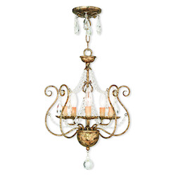 Hand Applied European Bronze Isabella Convertible 5 Light 1 Tier Chandelier / Semi Flush Ceiling Fixture