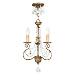 Hand Applied European Bronze Isabella 3 Light 1 Tier Chandelier
