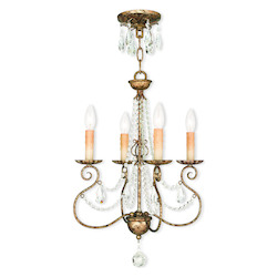Hand Applied European Bronze Isabella 4 Light 1 Tier Chandelier