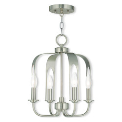 Brushed Nickel Addison Convertible 4 Light 1 Tier Chandelier / Semi Flush Ceiling Fixture