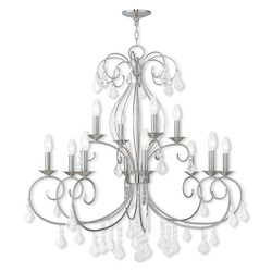 Brushed Nickel Donatella 12 Light 2 Tier Chandelier