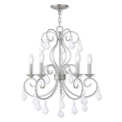 Brushed Nickel Donatella 5 Light 1 Tier Chandelier