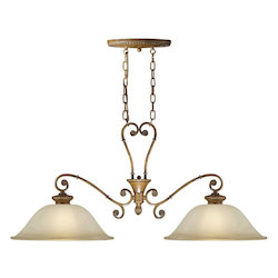 Two Light Rustic Sienna Island Light - Forte 2494-02-41