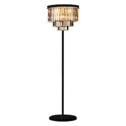 Odeon 8 Light Golden Teak Glass Fringe Floor Lamp Light Fixture in Java Brown Finish - Restoration Revolution 700132-002