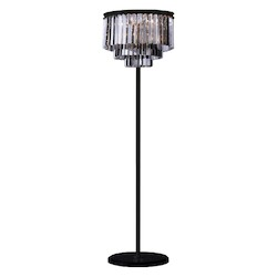 Odeon 8 Light Golden Teak Fringe Floor Lamp Light Fixture in Java Brown Finish - Restoration Revolution 700132-003