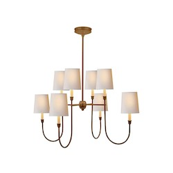 4 Light Shaded Chandelier Light Fixture in Antique Bronze Finish