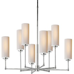 8 Light Shaded Chandelier Light Fixture with Polished Nickel Finish