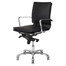 Black Armchair - Leather Carlo Office Chair