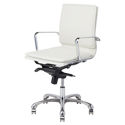 White Armchair - Leather Carlo Office Chair