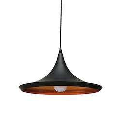 Black Single Bulb Euclid Pendant Lamp - 380504