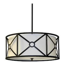 3Lt Pendant Metal Cage W/Crm Shade