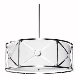 4Lt Pendant Metal Cage W/Wh Shade