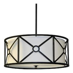 4Lt Pendant Metal Cage W/Crm Shade