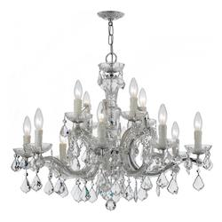 12 Light Clear Crystal Chrome Chandelier I