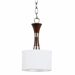 Bordeaux Collection 1 Light Mini Pendant In A Satin Nickel And Redwood Finish