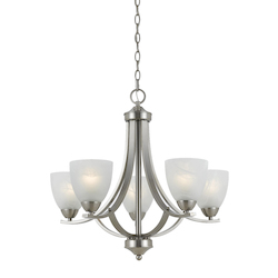 Value Collection 8001 5 Light Chandelier In Satin Nickel Finish