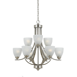 Value Collection 8001 9 Light Chandelier In Satin Nickel Finish