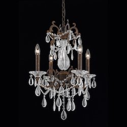4 Light Mini Chandelier In A Bronze With Gold And Silver Wash Finish