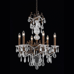 Vienna Collection 6 Light Chandelier In Bronze With Gold And Silver Wash Finish