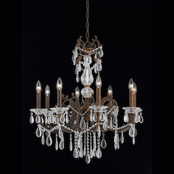 Vienna Collection 8 Light Chandelier In Bronze With Gold And Silver Wash Finish
