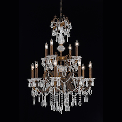 Vienna Collection 12 Light Chandelier In Bronze With Gold And Silver Wash Finish