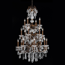 18 Light Entry Chandelier In Bronze With Gold And Silver Wash Finish