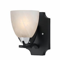 Value Collection 8004 1 Light Wall Sconce In A Black Finish With Chrome Accents