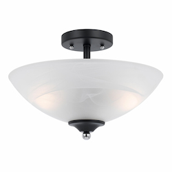 Value Collection 8004 2 Light Semi Flush In A Black Finish With Chrome Accents