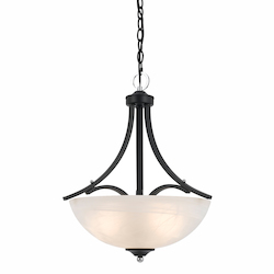 Value Collection 8004 3 Light Pendant In A Black Finish With Chrome Accents