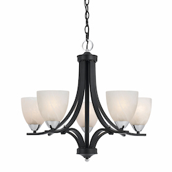 Value Collection 8004 5 Light Chandelier In A Black Finish With Chrome Accents