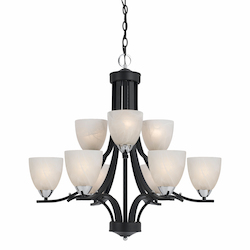 Value Collection 8004 9 Light Chandelier In A Black Finish With Chrome Accents