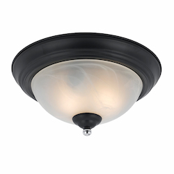 Value Collection 8004 2 Light Flush Mount In A Black Finish With Chrome Accents