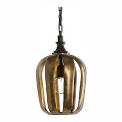 Uttermost Zucca 1 Light Antique Gold Mini Pendant