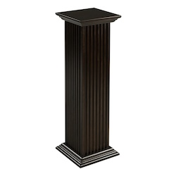Square Fluted Pedestal - Mahogany - 393267