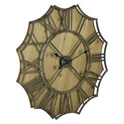 Diallo Clock - Metal & Manufactured Wood - 393671