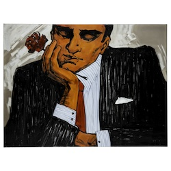 Mad Man with Flower - Canvas - 393679